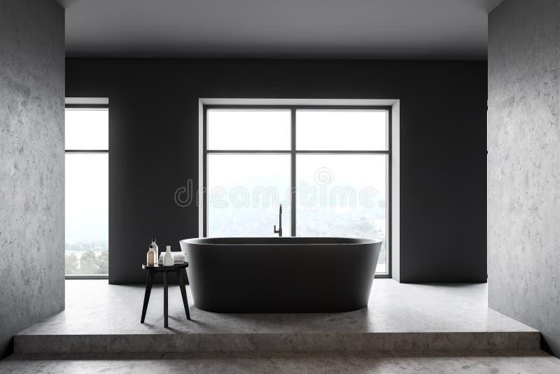 Серый и конкретный интерьер bathroom иллюстрация вектора