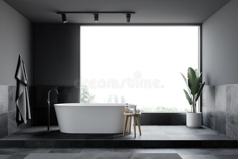 Серый и крыть черепицей черепицей интерьер bathroom просторной квартиры, ушат иллюстрация штока