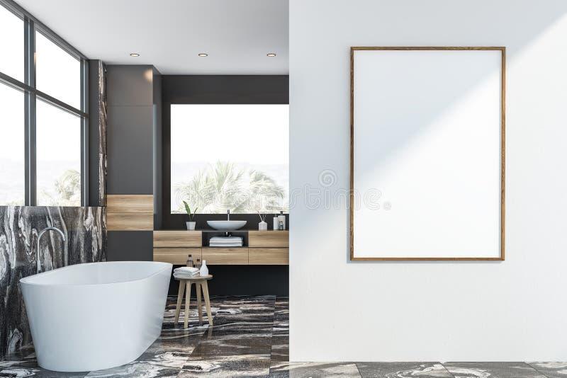 Серый и мраморный bathroom с плакатом иллюстрация штока