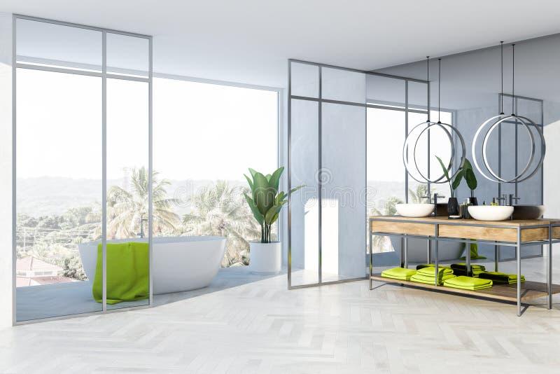 Серый и стеклянный угол ванной комнаты, белый ушат, раковина иллюстрация вектора