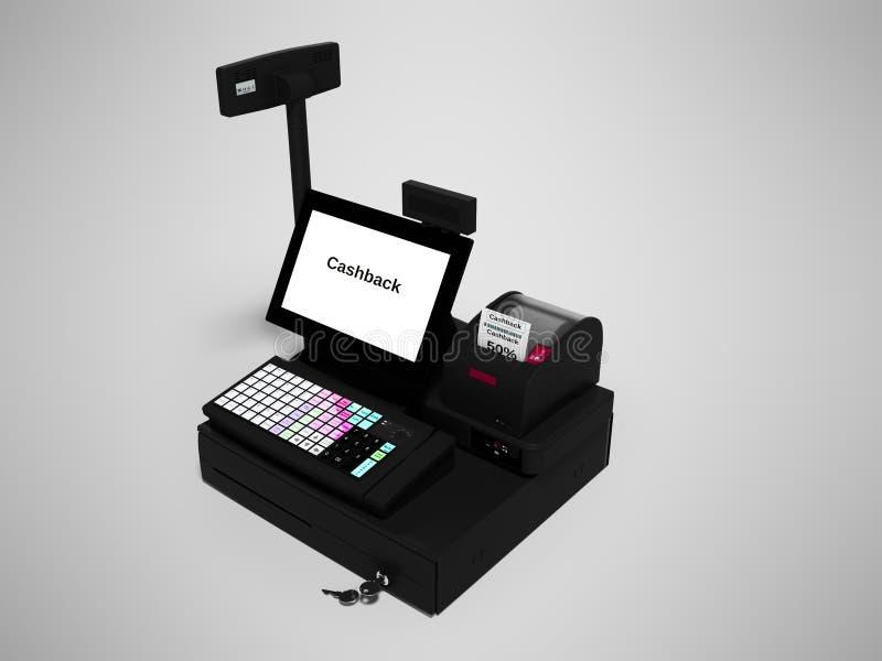 Серый кассир с монитором с функцией cashback пока печатающ получение изолировал 3d для того чтобы представить на серой предпосылк иллюстрация вектора