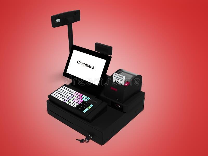 Серый кассир с монитором с функцией cashback пока печатающ получение изолировал 3d для того чтобы представить на красной предпосы бесплатная иллюстрация