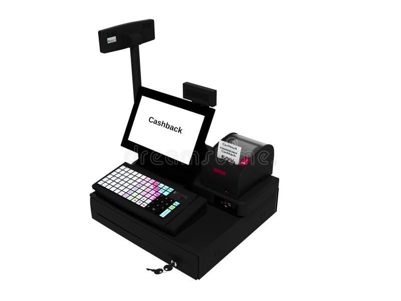 Серый кассир с монитором с функцией cashback пока печатающ получение изолировал 3d для того чтобы не представить на белой предпос бесплатная иллюстрация