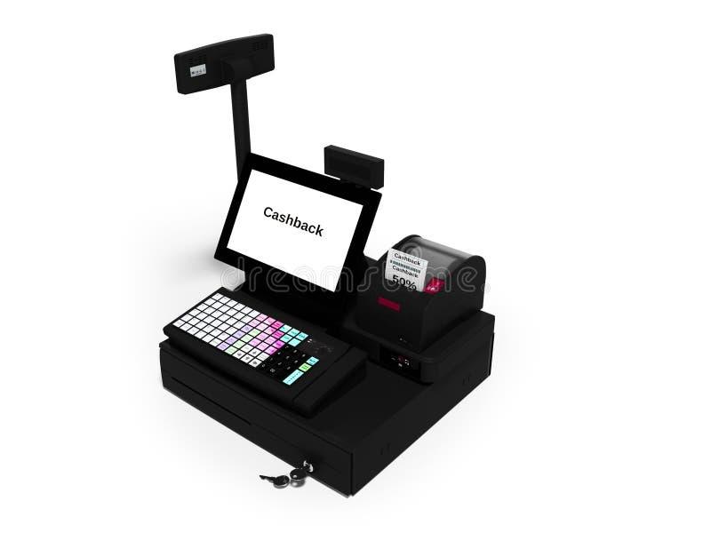 Серый кассир с монитором с функцией cashback пока печатающ получение изолировал 3d для того чтобы представить на белой предпосылк иллюстрация штока