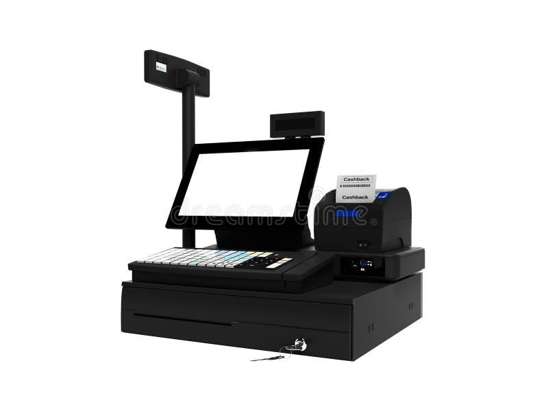 Серый кассир с монитором с функцией cashback при печати проверки 3d не представляет на белой предпосылке никакую тень бесплатная иллюстрация