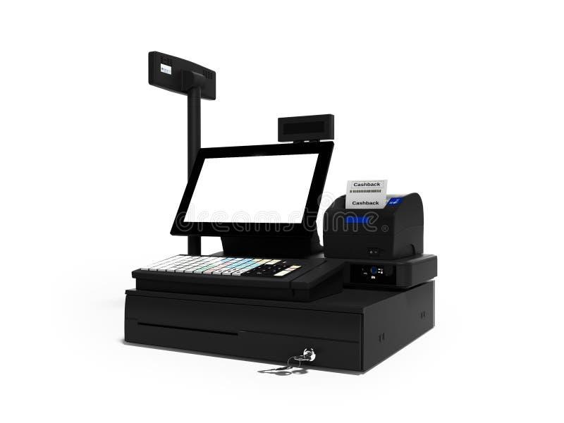 Серый кассир с монитором с функцией cashback при печати проверки 3d представляет на белой предпосылке с тенью иллюстрация вектора