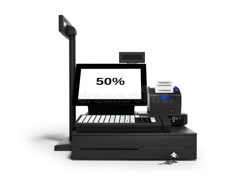 Серый кассир с монитором с функцией cashback 50 процентов при печати вида спереди 3d проверки для того чтобы представить на белой иллюстрация штока