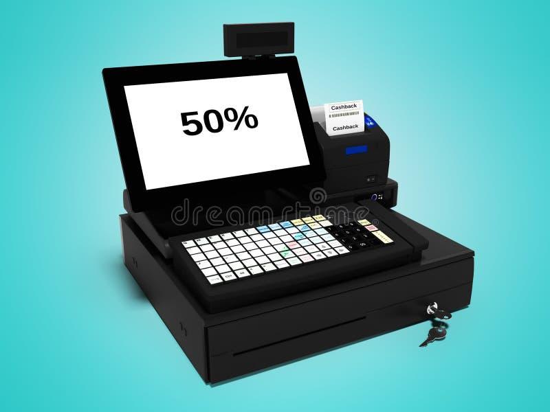 Серый кассир с монитором с функцией cashback 50 процентов при печати проверки 3d представляет на голубой предпосылке с тенью иллюстрация штока