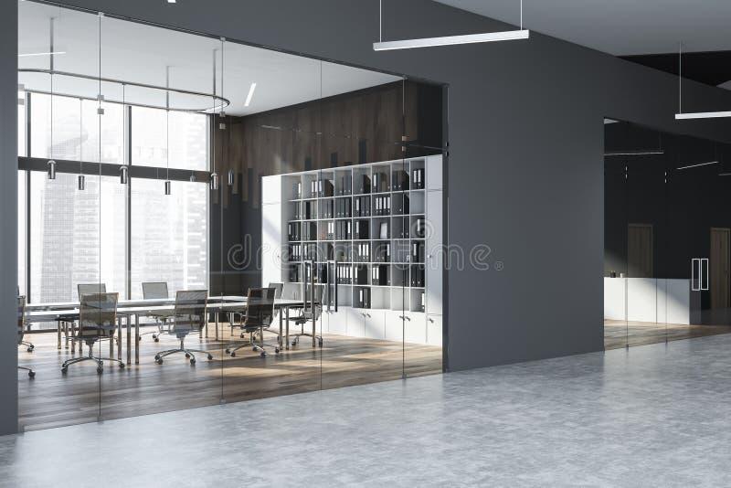 Серый конференц-зал с bookcase иллюстрация вектора