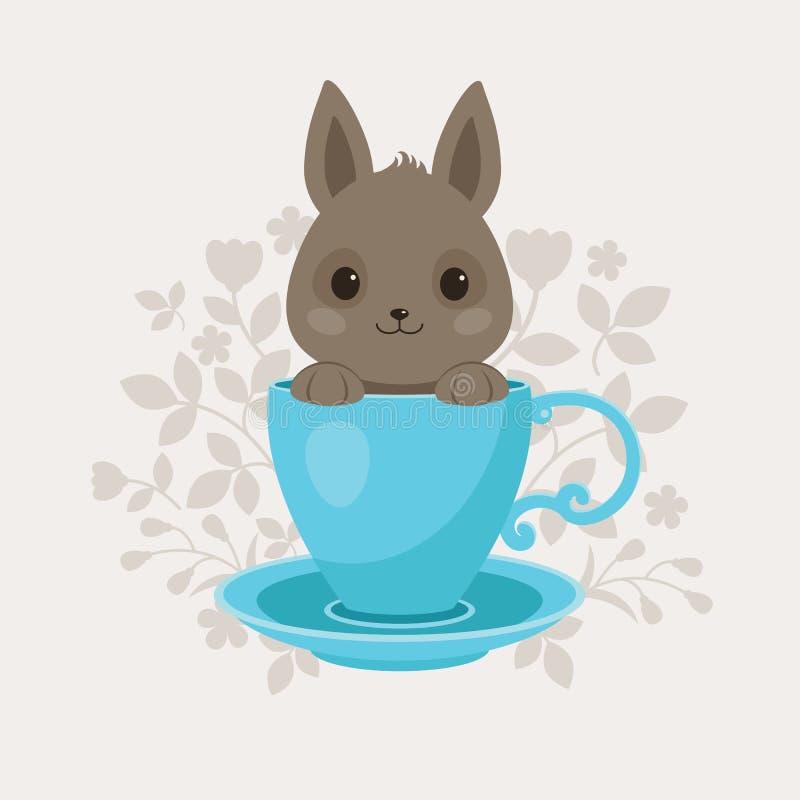 Серый кролик в голубой чашке чая иллюстрация вектора