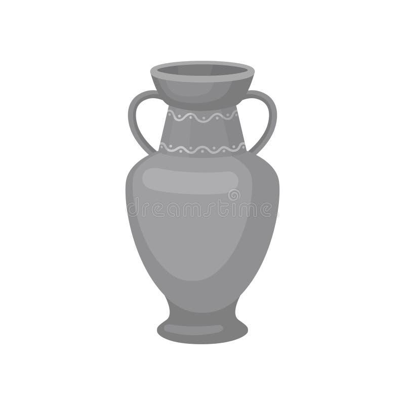Серый кувшин с 2 ручками и широкой шеей Плоский значок вектора большого сосуда для жидкостей керамический jpg eps crockery декора иллюстрация вектора