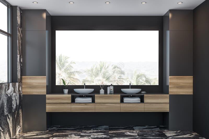 Серый мраморный bathroom с двойной раковиной бесплатная иллюстрация