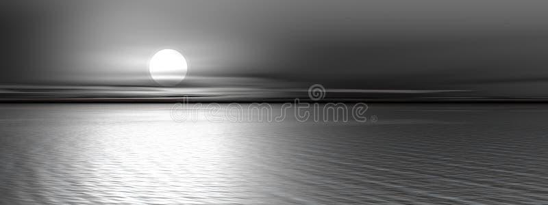 серый панорамный заход солнца иллюстрация вектора