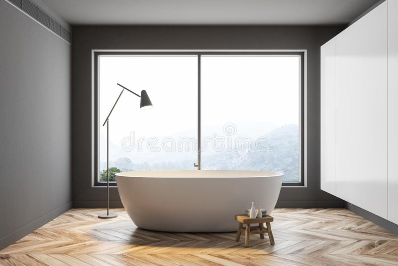 Серый панорамный интерьер ванной комнаты иллюстрация штока