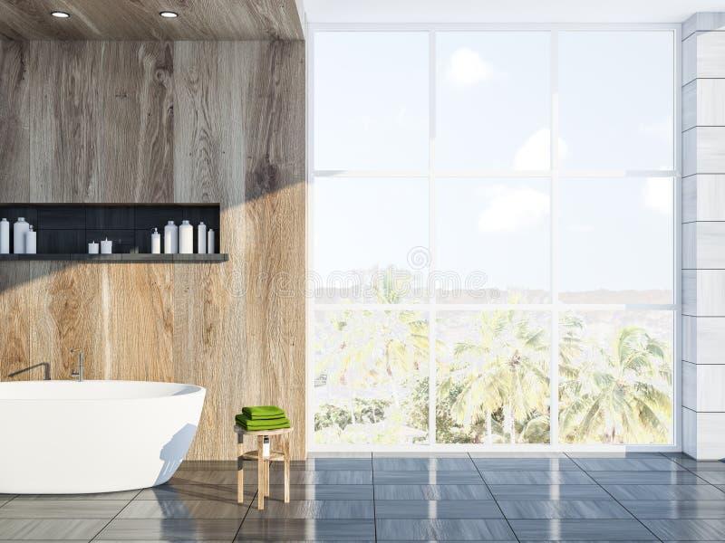 Серый скандинавский интерьер ванной комнаты, ушат, окно иллюстрация вектора
