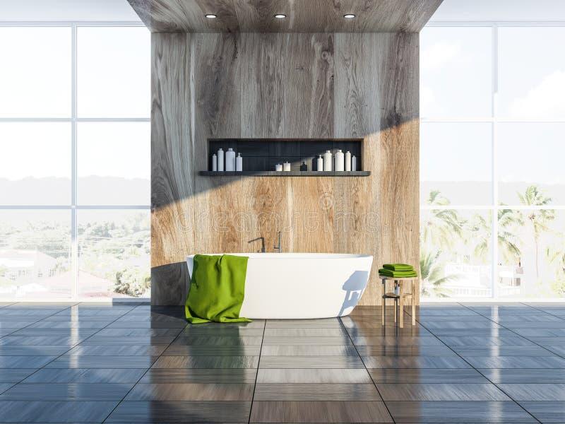 Серый скандинавский интерьер ванной комнаты, ушат бесплатная иллюстрация