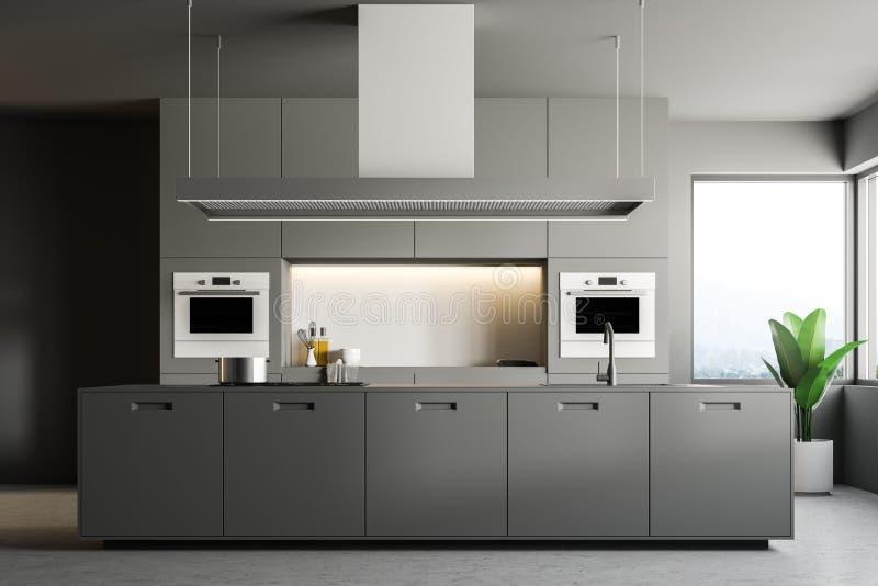 Серый современный интерьер кухни, остров иллюстрация вектора