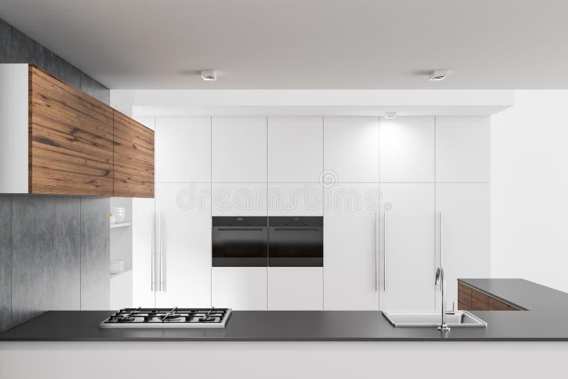 Серый счетчик кухни в белой кухне бесплатная иллюстрация
