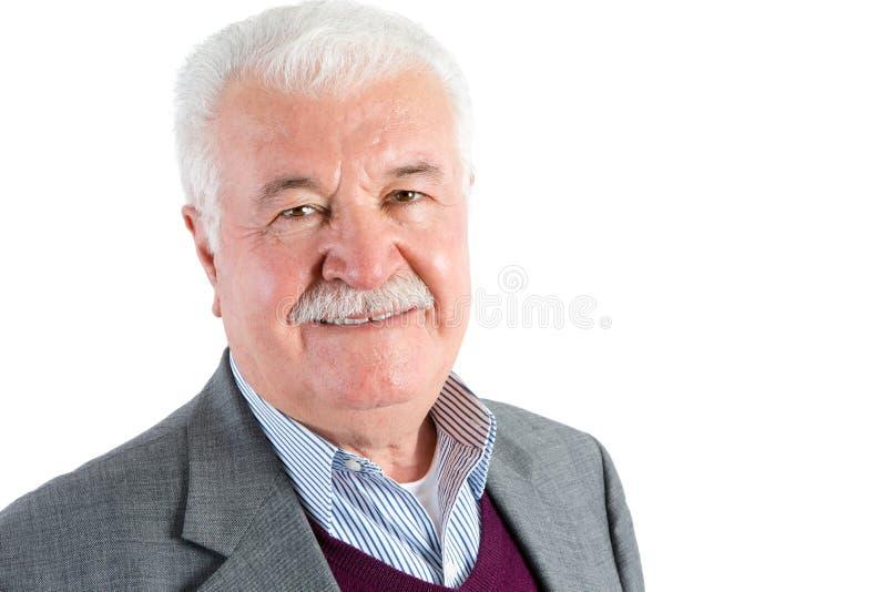 Серый с волосами старший бизнесмен изолированный на белизне стоковое фото rf