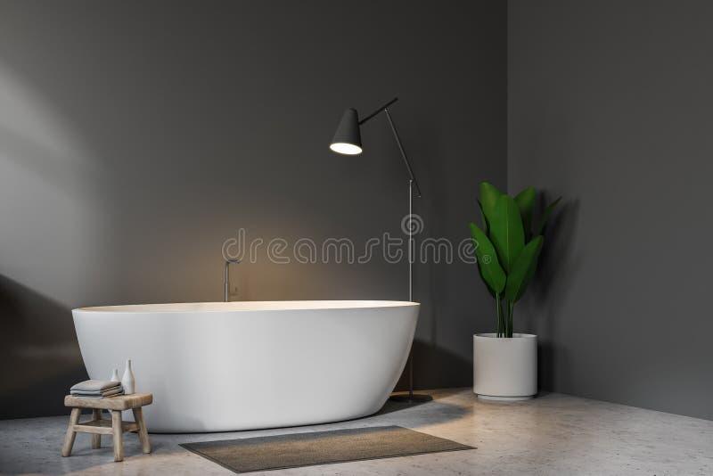 Серый угол ванной комнаты, белый ушат и лампа бесплатная иллюстрация