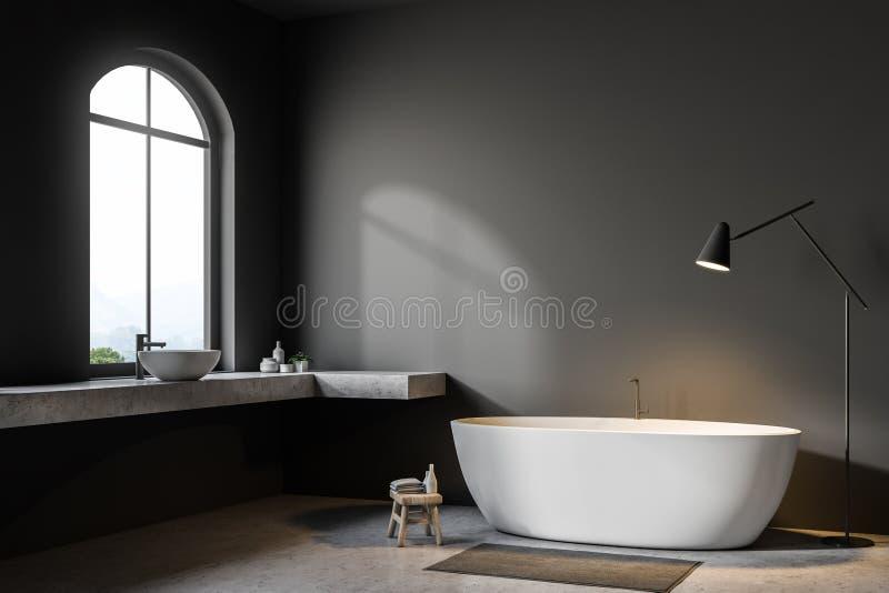 Серый угол ванной комнаты, белый ушат иллюстрация вектора