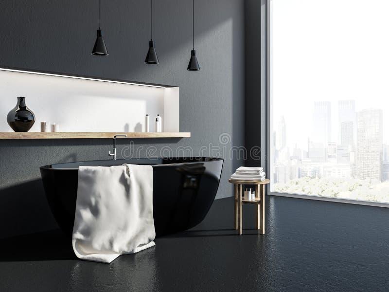 Серый угол ванной комнаты, черный ушат бесплатная иллюстрация