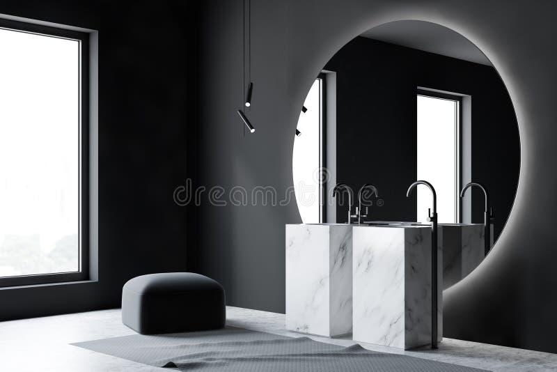 Серый угол bathroom с мраморной двойной раковиной бесплатная иллюстрация