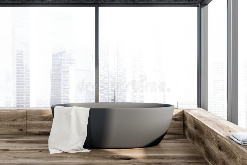 Серый ушат в панорамном bathroom иллюстрация штока