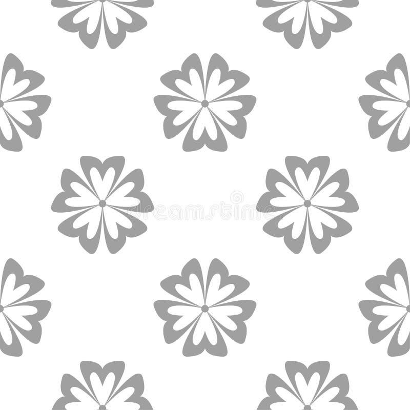 Серый цветочный узор на белизне Безшовная предпосылка иллюстрация штока