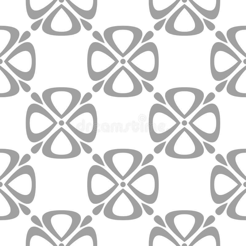 Серый цветочный узор на белизне Безшовная предпосылка иллюстрация вектора