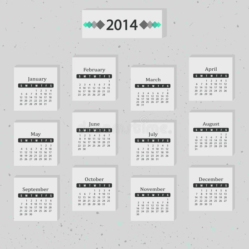 Серый цвет календаря 2014 бесплатная иллюстрация
