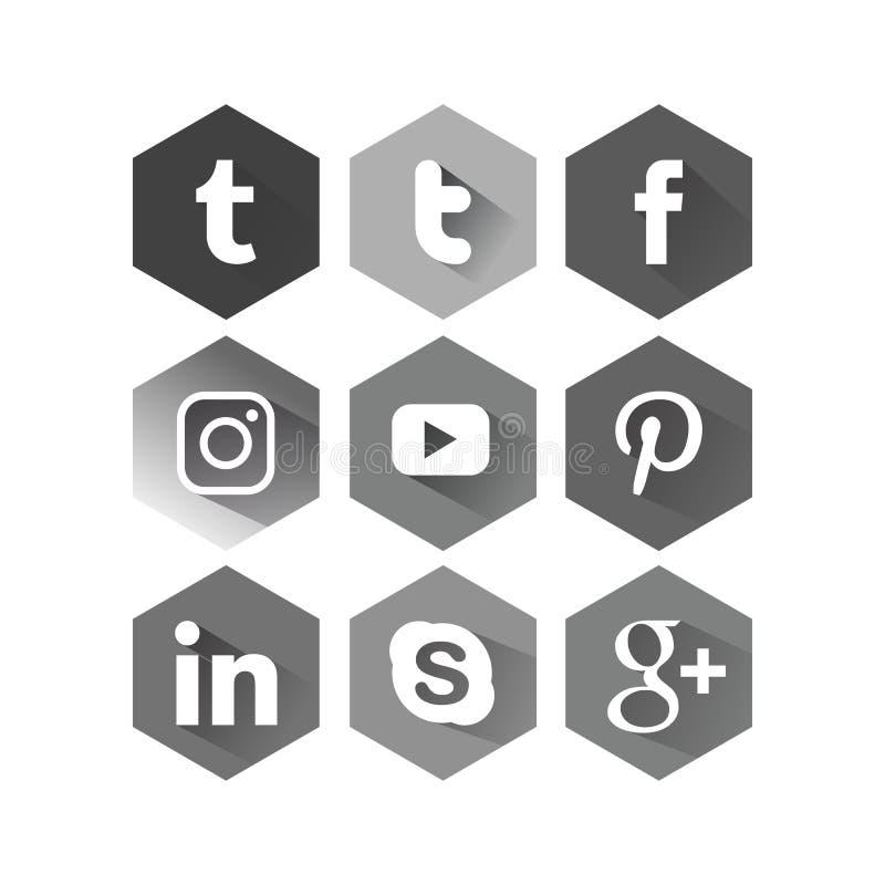 Серый цвет квадрата 6 значка Sosmed стоковое изображение rf