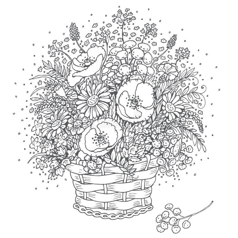 Серый цвет конспектирует букет полевых цветков в корзине иллюстрация вектора