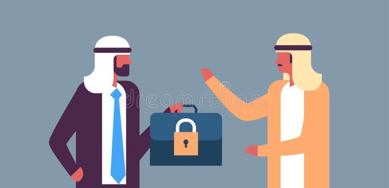 Серый цвет концепции арабской защиты данных безопасностью GDPR padlock случая владением бизнесмена общей регулированный плоско го иллюстрация вектора