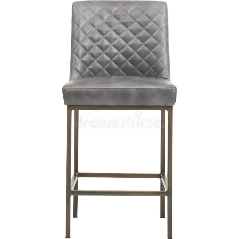 Серый цвет - мебель - Солнц-лоток, ГОРИСТАЯ МЕСТНОСТЬ ОБЕДАЯ СТУЛ - АНТИЧНОЕ ЛАТУННОЕ - ТЕМНАЯ СЕРАЯ ТКАНЬ, барный стул с валиком стоковая фотография