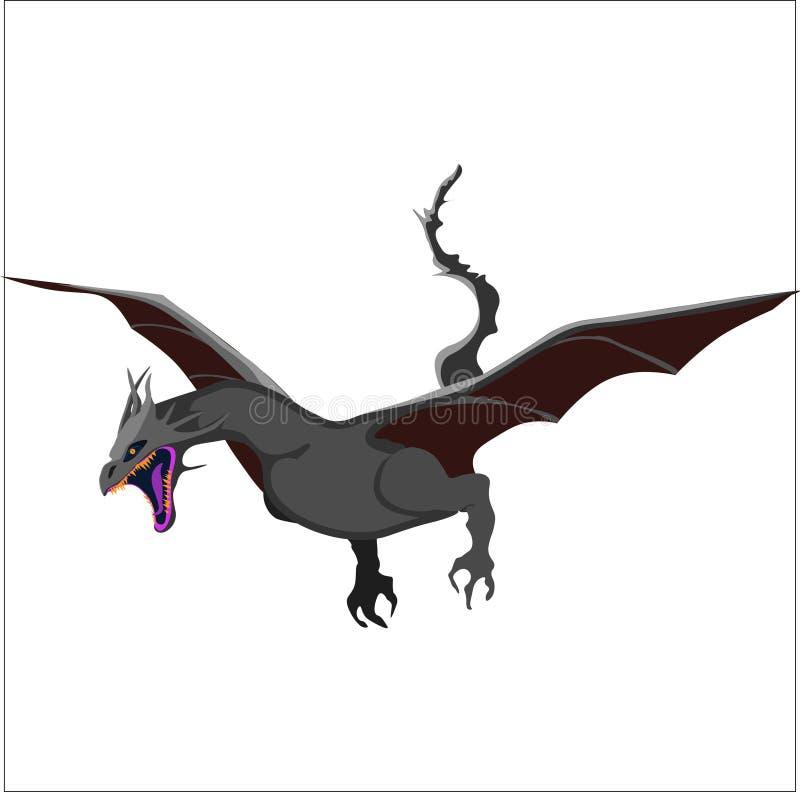Серый цвет, муха, большие животные, символ, этнический, сила, аксессуар иллюстрация вектора