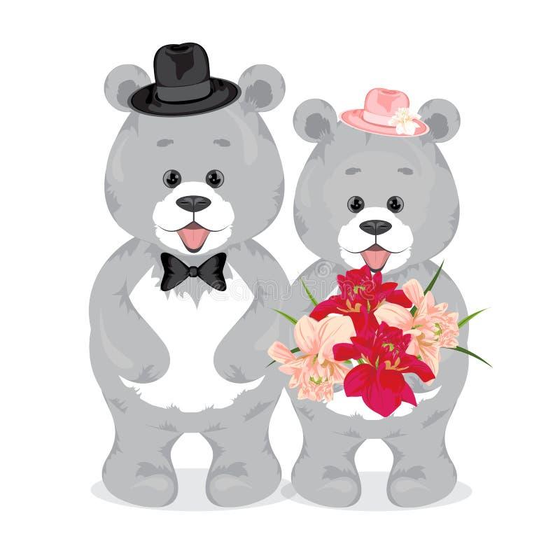 Серый цвет носит усмехнуться Мужчина в черной шляпе с связью, женщина i иллюстрация штока
