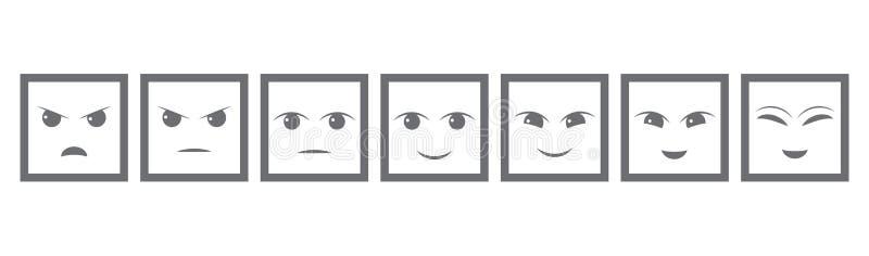 Серый цвет 7 смотрит на обратную связь/настроение Иконическая иллюстрация уровня соответствия Выстройте в ряд для того чтобы опре иллюстрация штока