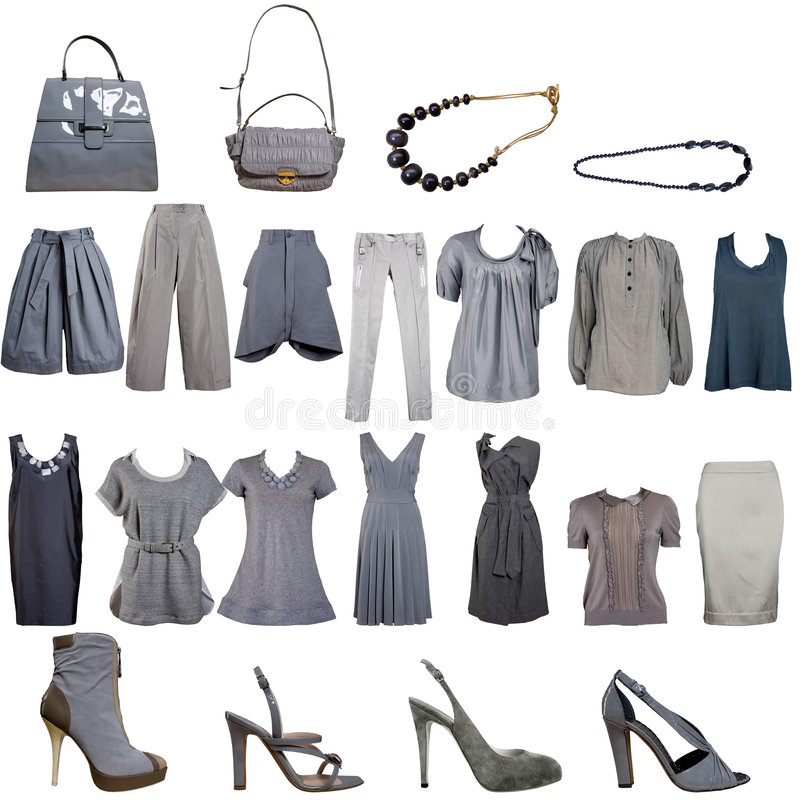 серый цвет собрания одежд вспомогательного оборудования стоковые изображения rf