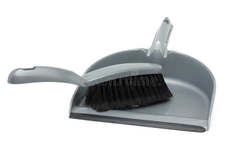 серый цвет dustpan щетки стоковое фото rf