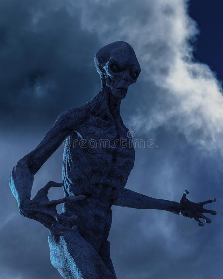 Серый чужеземец темная сторона чужеземца иллюстрация вектора