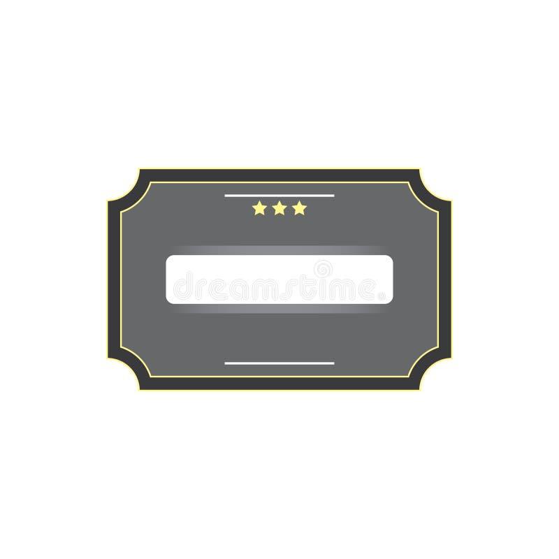 Серый шильдик с 3 желтыми звездами и белым окном для текста Вектор eps10 шильдика старого стиля серого цвета бесплатная иллюстрация