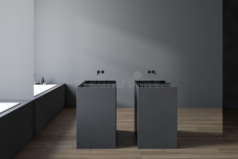 Серый bathroom стеклянной стены, двойная раковина и ушат иллюстрация вектора