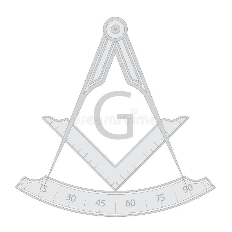 Серый masonic символ квадрата и компаса бесплатная иллюстрация