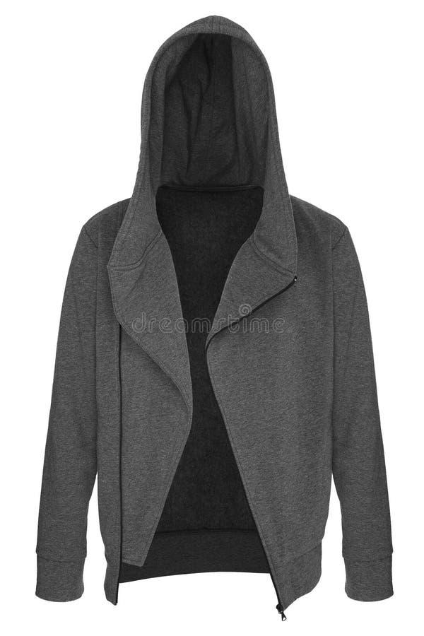 Серый tracksuit unzipped с клобуком стоковые фото