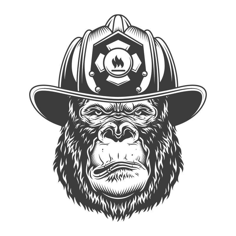 Серьезная горилла в monochrome стиле бесплатная иллюстрация
