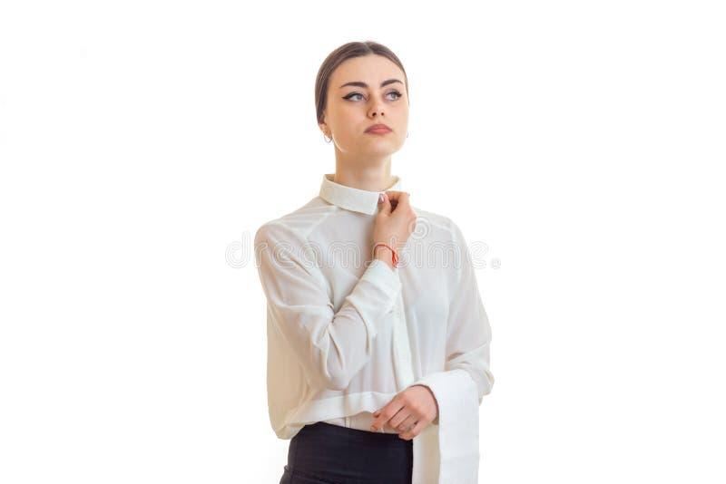 Серьезная официантка женщины в форме стоковая фотография rf