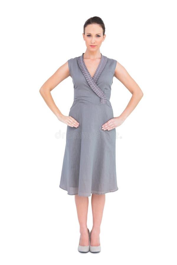 Серьезное элегантное брюнет в первоклассный представлять платья стоковые фотографии rf