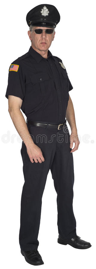Серьезные изолированные полисмен или полицейский полицейского стоковые изображения rf