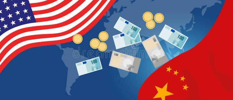 Серьезные торгуя напряжение или торговая война между США и Китаем, торговым дефицитом между экономикой 2 иллюстрация вектора